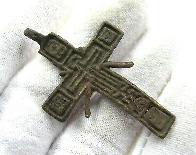 Authentic Late Medieval Era Bronze Radiate Cross Pendant - J493