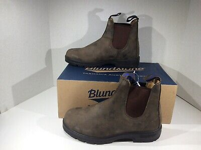 BLUNDSTONE Mens 584 Rustic Brown Leather Pull On Ankle Boots Shoes Sz 6.5 YA-928