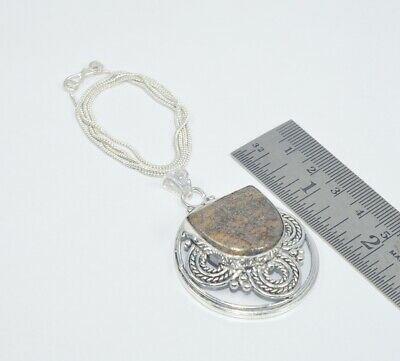 925 SILVER PLATED PICASSO JASPER CHAIN PANDANT Bb213