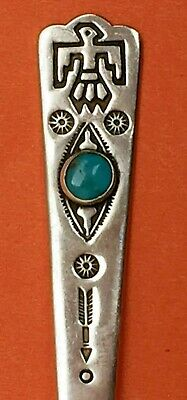 Thunderbird Indian Navajo Style Sterling Silver Souvenir Spoon Turquoise