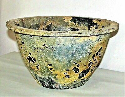 "Chinese Han Pottery Planter / Pot / Green Glaze Ware / c.210 AD / 11"" d x 6"" h"