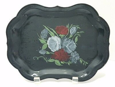 Antique Tole Painted Tray Black Pretty White Red Floral on Black Base 9.25x6.75