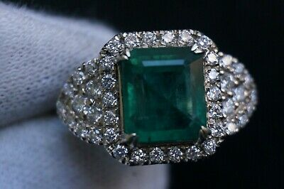 White gold Ring EMERALD Estate Natural Real Diamond 4.24CT 14K IGI RETAIL $13000