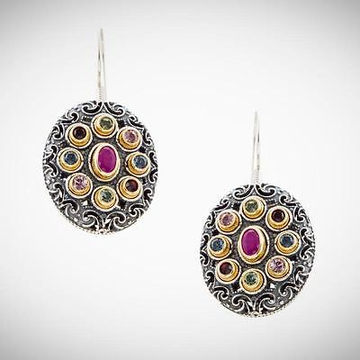 S212 ~ Silver, Swarovski & Rubies Medieval Drop Earrings