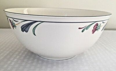 "Lenox Poppies On Blue Round Serving Bowl 10.5"" Diameter Chinastone No Wear"