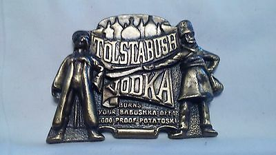 Vintage 70s Belt Buckle Tolstabush Vodka