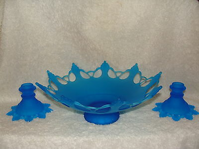 Westmoreland RING & PETAL Blue Satin Mist Bowl & Candle Holders