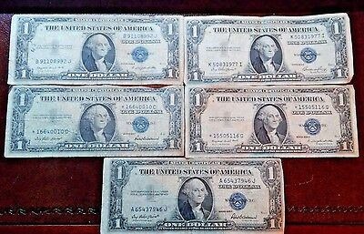 Lot Of 5 $1 Dollar Silver Certificate Blue Seal Bank Notes 1935 E-F-G1957 Errors