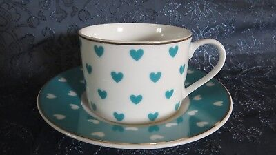 Grace Teaware Tea Cup & Saucer Teal Hearts Valentine's Day