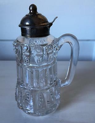Antique Heavy Blown Glass Syrup Pitcher Silverplate Spout Circa 1880s Large 7.5""
