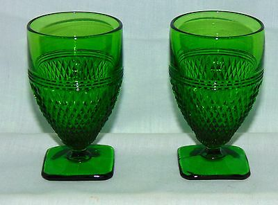 """2 Cambridge MOUNT MT VERNON *  EMERALD GREEN* 3 1/4"""" FOOTED TUMBLERS*"""