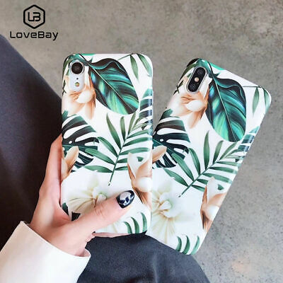 Case for iPhone XS Max XR X 8 7 6 Plus Retro Flower Leaf Soft Shockproof Cover
