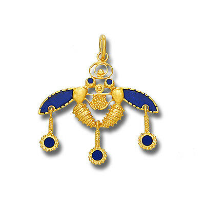 Minoan Cretan Malia Bees ~ 18K Solid Yellow Gold and Blue Enamel Pendant - M