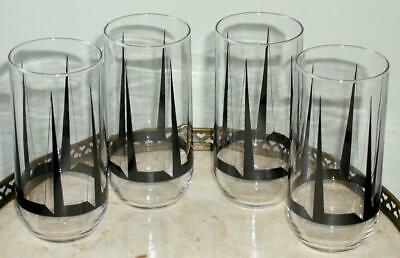 4 VTG MCM ATOMIC Bar Glass BLACK SPIKE High Ball Tumbler SPACE AGE Mid Century