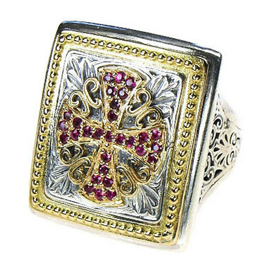 Gerochristo 2689 ~ Solid 18K Gold, Sterling Silver &  Rubies Medieval Cross Ring