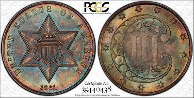 Pcgs Ms67 1861 Three Cent Silver Top Pop Type 3 Rainbow Color Toned Toning 3Cs