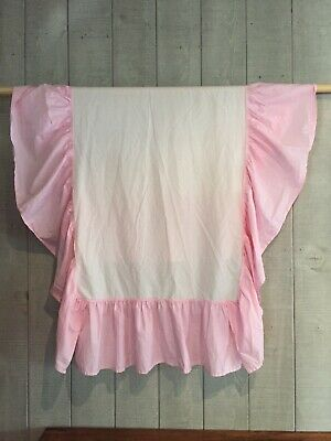 Pottery Barn Crib Dust Ruffle Bed Skirt Pink 100% Cotton Gathered 14""