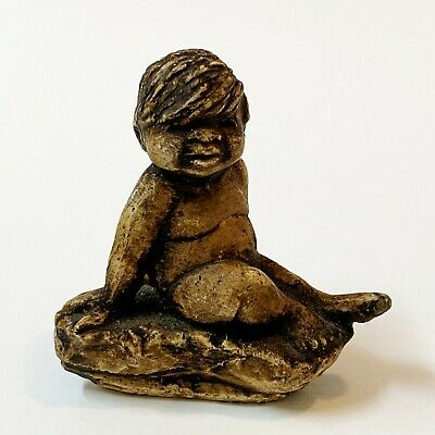 Pat Elvins E&M Pottery, NT - Seated  Aboriginal Child Figurine, 6cm Tall, Signed