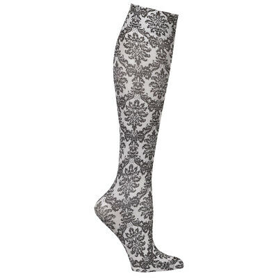Celeste Stein Women's Moderate Compression Knee High Stockings - Grey Damask