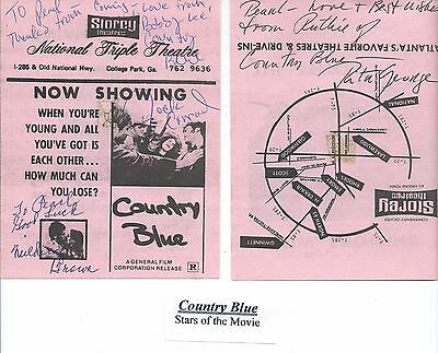 Country Blue Movie Program Signed By Jack Conrad, Mildred Brown, Rita George