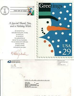 Us Postmaster General William Henderson Signed 1993 Holiday Card Fdc