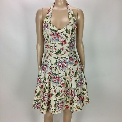 faa79f63224 Vintage 80s JONI BLAIR Women s Dress 7 Halter Floral Puffy Party Small OO24