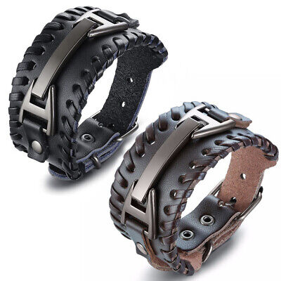 Mens Wide Black Brown Leather Bracelet Watch Buckle Metal Band Wristband Bangle