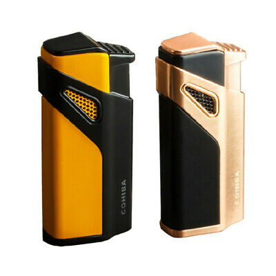 COHIBA Fashion Lighters Windproof Lighter 3 Torch Jet Flame Metal Cigar W/Punch