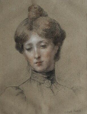 19th Century French Drawing, Portrait of a Woman, Antoinette Raoux (1872-1928)