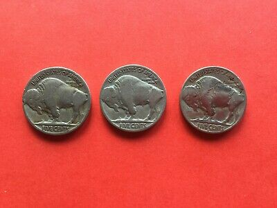 3x United States of America Buffalo Nickels Chief Five Cents 1929, 1936
