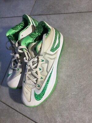 f62ef4ab3921 2014 Nike LEBRON XI 11 Low Easter White Green 642849-100 Size 10 Good