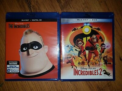 Blu Ray DVD Lot The Incredibles 1 & 2