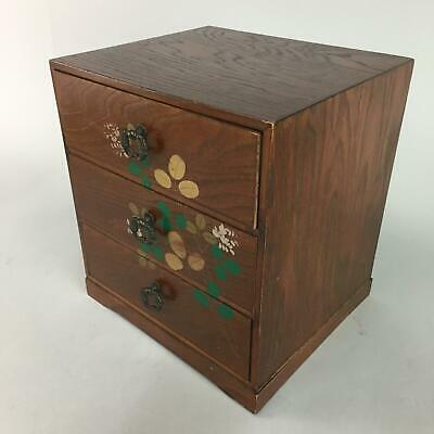 Japanese Lacquer Sewing Box Vtg Wooden Haribako Chest Tansu 3 Drawers T152