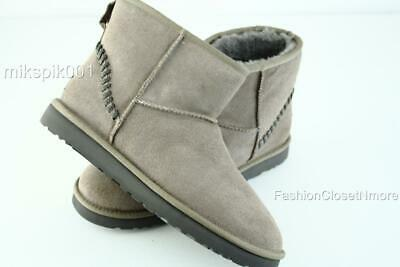 UGG Australia Mens CLASSIC MINI DECO STERLING Suede Leather Fur Ankle Boots NIB
