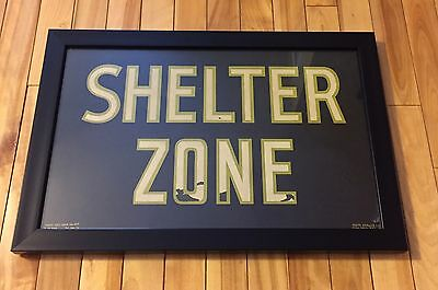 Rare Unusual Vintage 1950's SHELTER ZONE Florescent Sign Halo-Glo Sign