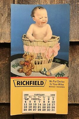 Vintage 1959 RICHFIELD Tires ~ We Put Smiles In Your Miles ~ Calendar Sign