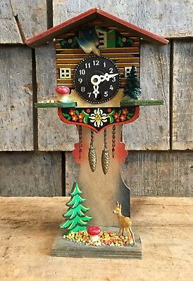 Vintage German Bavaria Wind Up Wooden Painted Cuckoo Clock Folk Art Decor