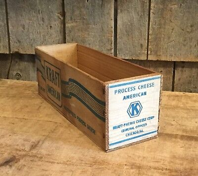 """Vintage KRAFT Cheese Wood Crate 12""""x4"""" Kitchen Home General Store Decor Display"""