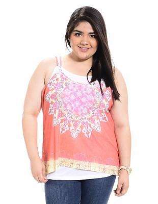e64a3a8d912 MAURICES PLUS SIZE 1X The Layered Mixed Print Sleeveless Tank Shirt ...