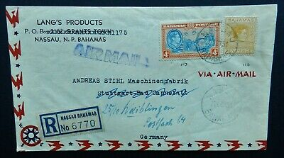 Bahamas First Day Cover 1951 Registered airmail 4d, 10 pence