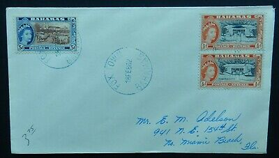 Bahamas Cover 1962 Pair 1/2d and 5d