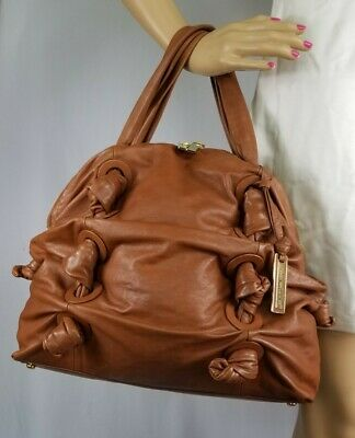 22f586f13ef7 MICHAEL KORS runway COLLECTION zuma brown Knotted Leather Satchel Tote  purse xl