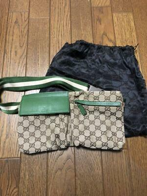 68844ecff GUCCI Waist Pouch Bumbag Belt Bum Fanny Pack Beige Green Rare Color Used  Ex++