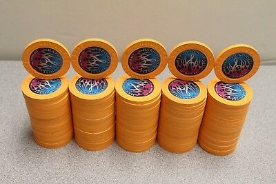 Private Listing 100 Hard Rock Casino Roulette Chips Flames Paulson / Peach
