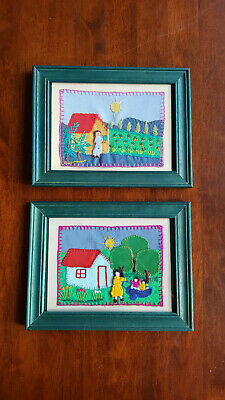 2 x handmade fabric collages of village life in Chile - in 21.7 x 16.7cm frames