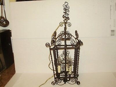 Spanish Revival Bl. Antique Iron Hanging Light 1920S 3 Lights. Nice! #1583