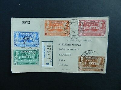 Barbados 1939 FDC  5 used stamps 257-261: 1/2d, 1d, 1 1/2d , 2 1/2d, 3d