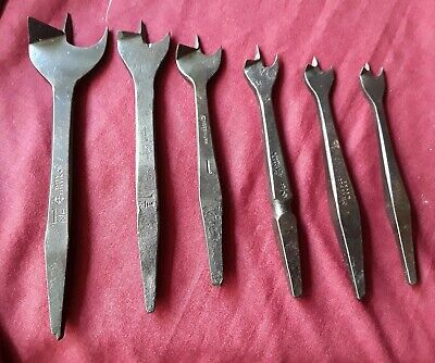 Hand Brace Drills, Auger, Drill Bits,6 With Names, Old Tools, Vintage, Antiques.