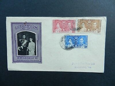 Barbados Cover 1937 Coronation 1d, 1 1/2d, 2 1/2d