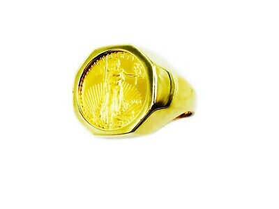 18k Solid Yellow Gold Mens Ring 20 MM with 22K 1/10 OZ US LIBERTY COIN